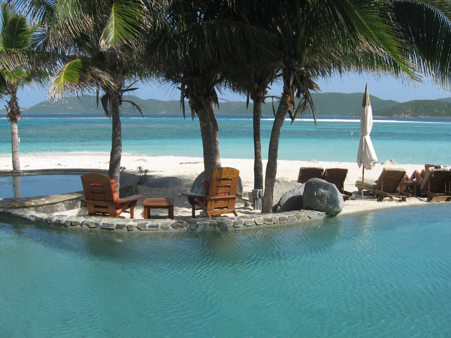 Necker Island's pool on the beach